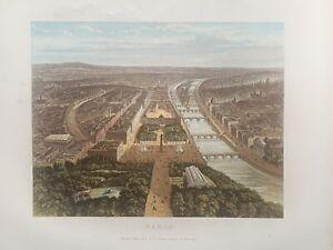 1878  Panoramic Birds-eye View of Paris Original Antique by William Collins