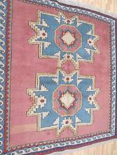 A BRILLIANT OLD HANDMADE KARZ TURKISH WOOL ON WOOL  RUG (151 x 148 cm)