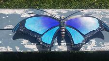 "La Mariposa Butterfly Metal Handmade Painted Wall Art Mexican Blue 24""x10"" 430"
