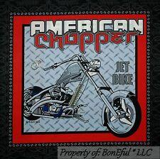 BonEful Fabric FQ Cotton Quilt Block Pillow VTG American Chopper Motorcycle Bike