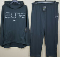 NIKE ELITE BASKETBALL SUIT HOODIE + PANTS THERMA DRI-FIT GREY NEW (SIZE 3XL)