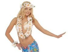 Set Costume Hawaiana Collana , Corna e Bracciale Floreale Bianco PS 08183 Carnev