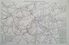 1905 unfolded Railway Map of London