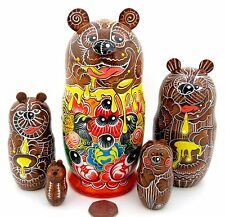 Russian Doll Nesting Matryoshka Babushka BROWN BEAR FAMILY hand painted MATT