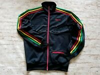 Men's Rare Retro Adidas Rasta Jamaica Chile 62 Firebird Track Jacket Black M/L