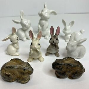 Vintage Hagen Renaker Bunny Rabbit Family Miniature Figurines And Others Lot 9