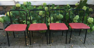 4 Vintage Card Table Chairs Atomic Mid Century Cosco Fasionfolding vinyl metal