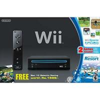 Wii Console Black With Wii Sports And Wii Resort Video Game Systems Very Good