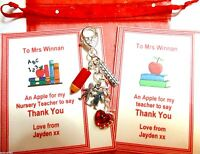 """""""Apple for Teacher"""" Thank You Gift Hand Bag Charm Gift Personalised Card +Bag"""