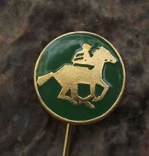 Jockey Rider on Running Horse Racing Sprinting Cantering Equestrian Pin Badge