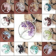Natural Gravel Gemstone Tree of Life Round Pendant Leather Cord Pendant Necklace