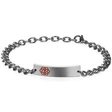 Free Engraving Polished Stainless Steel Name Medical Diabetes ID Bracelet Chain
