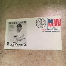 Mickey Mantle Farewell to a Champion 1995 USPS Envelope preprinted US Flag stamp