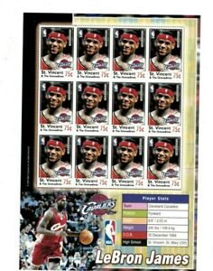 St. Vincent 2004 - SC# 3419 - LeBron James NBA Cavaliers - Sheet of 12 - MNH