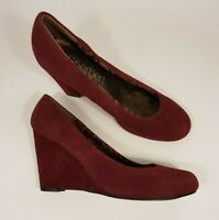 Sherbert size 6 (39) maroon faux suede wedge heel court shoes