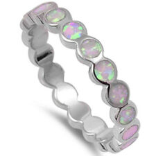 3mm Full Eternity Stackable Band Ring Round Lab Opal Sterling