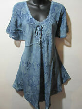 Top Fits XL 1X 2X 3X Plus Tunic Gray Black Floral Lace Sleeve A Shaped NWT G788
