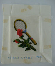 Completed Crewel Embroidery Tapestry Tennis Racquet Roses Caron #6302 1976