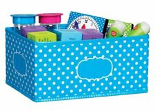 TCR 20815 Aqua with White Polka Dot Storage Bin Classroom Organization Station