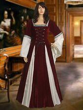 Medieval Fantasy Red and Blue Renaissance Dress in Gothic Style Handmade Velvet