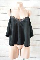 ASOS Singlet Top Cami Size Uk 14 Black Lace Trim Cold Shoulder