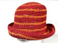 Daniele Meucci Womens Paper Straw Hat Made in Italy One Size Red & Orange