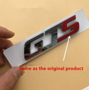 "Silver Red ""GTS"" Nameplate Logo Emblem Rear Trunk Lip Badge for Maserati Ghibli"