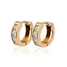18K EP 14mm  diamond simulated Hoop Earrings For Women ships from australia