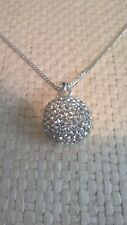 vintage beautiful sparkling ball pendant necklace silver toned chain extender