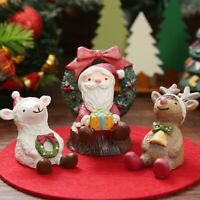 Resin Miniature Figurine Mini Christmas Figures Deer Statue Santa Claus  Decor