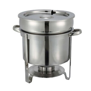 Winco 211 11 Quart Round Stainless Steel Soup Warmer Chafer Marmite with Cover