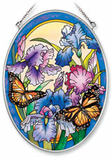 """Iris Butterfly Sun Catcher Amia Oval 7"""" x 5"""" Hand Painted Glass New Flowers"""