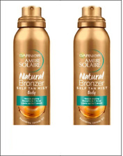 2 x Garnier Natural Bronzer Self Tan Body Mist. Dark Colour Version. 150 ml.