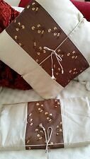 NEW SILK CUSHION COVERS Beige & Brown Embroidered Zip HOME DECOR