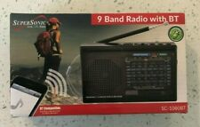 Supersonic SC-1080BT Rechargeable 9-Band AM/FM/SW1-7 Radio +Bluetooth +USB/SD-BK