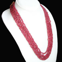 GENUINE MAGNIFICIENT 321.00 CTS NATURAL 5 STRAND FACETED RED RUBY BEADS NECKLACE