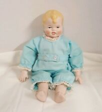 Vintage Little Boy Bisque, Head And Hands Cloth Body 10 1/2 Inches Blonde Hair