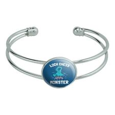 Loch Chess Monster Lochness Funny Humor Silver Plated Metal Cuff Bracelet