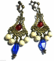 Blue Red Bronze Earrings Chandelier Drop Dangle Antique Vintage Style Clip-On