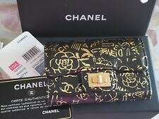 CHANEL 2019 NWT GOLD/BLACK  REISSUE GRAFFITI CROC EMBOSSED CARD HOLDER WALLET