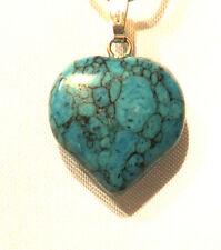 Pendentif Coeur Howlite Bleue ,cadeau,collection,bijoux,coquillage,déco,