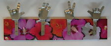 METAL DANDIE HANDS WITH Pink Hibiscus Surfer Flowers Bag Coat hook hanging Rack