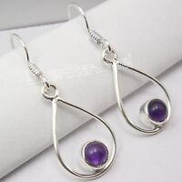 """925 Solid Silver Genuine PURPLE AMETHYST BESTSELLER FRENCH HOOK Earrings 1.4"""""""