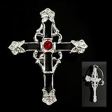 Navel Belly Ring 14g Reverse Black Cross With Red CZ Gem Non Dangle #9