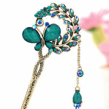 Women Retro Crystal Butterfly Flower Metal Chinese Hairpin Hair Stick Hair Clip