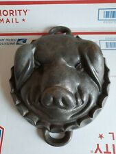 Vintage Cast Iron Pig`s Head Face Baking Pan Mold - Pig Mold 6 LB Iron