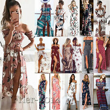 Women Boho Long Maxi Dress Summer Beach Evening Cocktail Party Floral Sundress