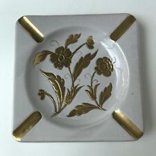 Vtg Italian Art Pottery Ashtray Gold Floral White Hand Painted Italy Mid Century