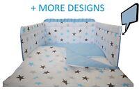 BLUE STARS/BLUE - 5 Pcs Baby Nursery Bedding Set -Cot 120x60 or Cot Bed 140x70cm