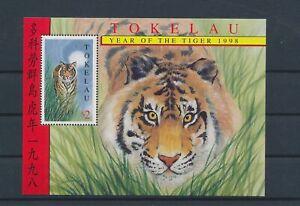 LO56204 Tokelau 1998 tiger lunar new year animals good sheet MNH